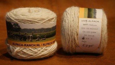 Alpacawol 100 gram wit